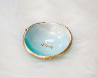 Personalized Jewelry Dish / Blue Ombre / Bridesmaids Gift / Wedding Gift / Engagement Gift / Gift for Her / Ring Dish / Personalized Jewelry