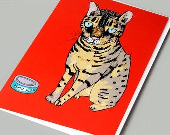 Cat Card, Birthday Card, Greeting Card, Cat Illustration, Cute Cat Card, Art Card, Cat Print, Cat Birthday -  Max The Cat