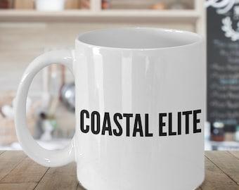 Coastal Elite Mug - California - Oregon - Washington Funny Democrat Mug - Democratic Party Coffee Mug
