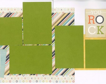 12x12 YOU ROCK scrapbook page kit, premade BOYS scrapbook, 12x12 premade page kit, premade scrapbook pages, 12x12 scrapbook layout