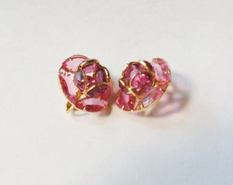 Pink Crystal Earrings Shaped Like Roses, Clip-on Pink Rose Earrings, Pink Rhinestone Earrings
