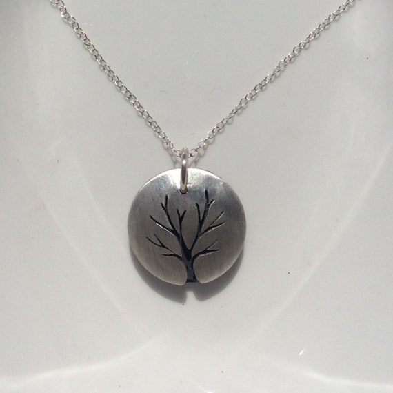 Sterling Silver and Lava Rock Essential Oil Tree of Life Necklace