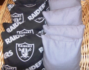 Corn hole Bags 8 pc set 4 Raiders print over Duck and 4 Gray Duck Bags