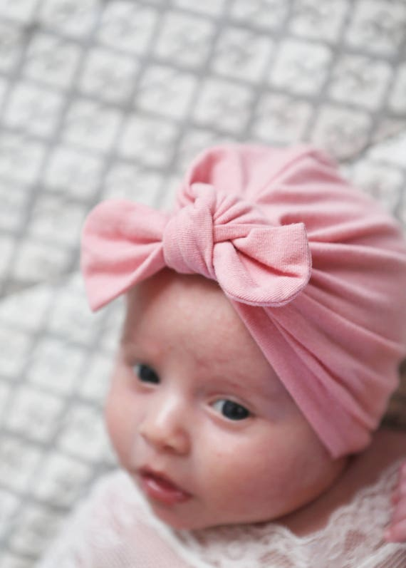 Orchid pink baby turban pink baby girl hat pink newborn hat pink baby hat infant hat hospital hat pink baby bow hat