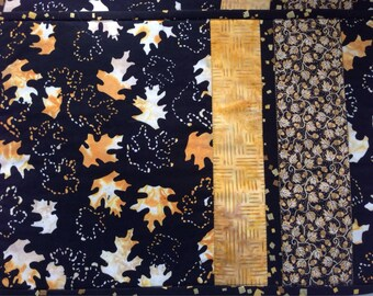 Batik Placemats, Black Gold Leaves Placemats, Quilted Placemats, Reversible Placemats