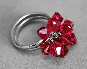 Red Rhinestone Crystal Silver Tone Ring Size 8.5 Slightly Adjustable 987