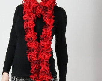 Shades of Red Crochet Knit Scarf