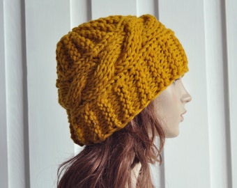 Hand Knit Women Hat Cable Beret Hat Chunky Knit hat Mustard yellow - ready to ship
