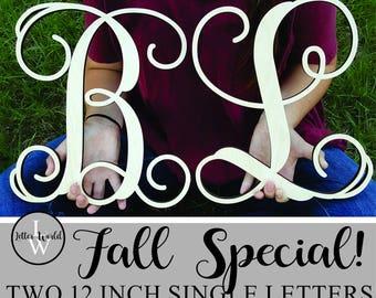 "FALL SPECIAL!! Two 12"" Unpainted Wooden Letters - Vine Script Initial - Monogram Wall Hanging - Monogram Door Hanger"