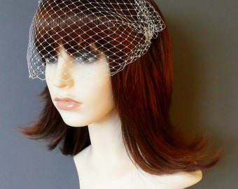 Ivory Birdcage Veil Wedding Bridal Bandeau with double gold or silver plated combs french netting blusher veil 'Lyla'