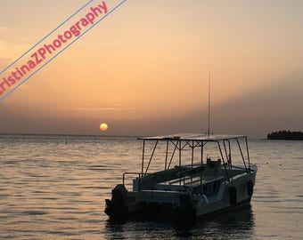 Bright Sunrise Beyond the Boat