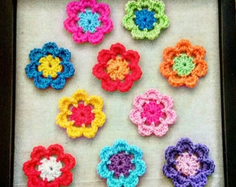 10 Handmade Crochet Flowers - Scrapbook - Applique - Craft - Embellishment - 7cm