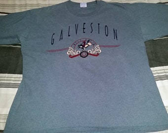 "Vintage 90's Galveston Texas Blue Rodeo Horse Souvenir T-Shirt - Size XL - Measures 23"" Pit to Pit - Made by Cal Cru"