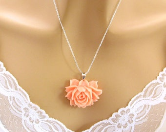 Peach Rose Necklaces, Peach Wedding Jewelry, Peach Bridesmaid Necklaces, Peach Flower Necklace, Peach Bridesmaid Jewelry, Bridal Party Gift