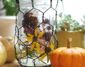 Mason Jar Basket, Wire Basket, Vintage Style, Basket With Handle, Farmhouse Style