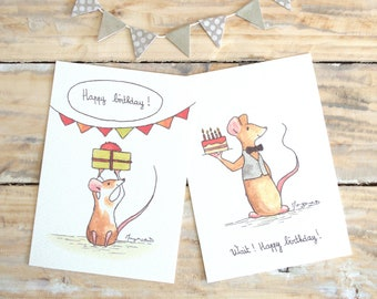 """Happy birthday"" birthday cards - set of 2 watercolor print cards mouse"