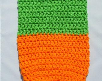 Carrot Baby Cocoon, Pumpkin Cocoon, Costume Pod, Baby Cocoon, Orange Green, Sleeping Bag, Halloween Prop, Photography Prop, 3 Months