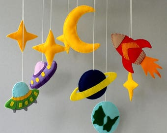 rocket mobile mobile space mobile moon mobile mobile baby baby mobile mobile bebe nursery mobile nursery decor crib mobile felt mobile