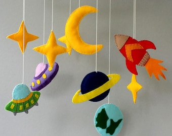 space mobile moon mobile mobile baby baby mobile mobile bebe nursery mobile nursery decor crib mobile felt mobile rocket mobile baby gift