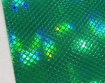 Green Smooth Mermaid Scales Leatherette Fabric Sheet