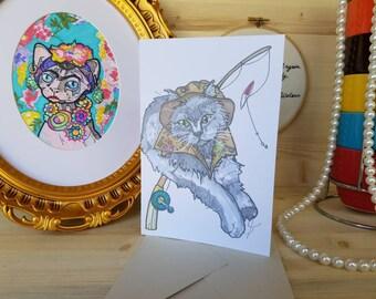 Fisherman Cat Greeting Card/ Cats in Costumes Art/ Cat Dressed as Fisherman Art/ Pet Illustration Card/ Cat Drawing/ Pet Portraits/ Grey Cat