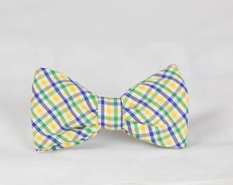 Mardi Gras Preppy Gingham Dog Bow Tie