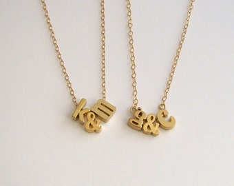 Personalized Letter Necklace, Initials, Wedding Necklace, Monogram Necklace, Little Letters Ampersand Necklace -14k Gold Filled Chain