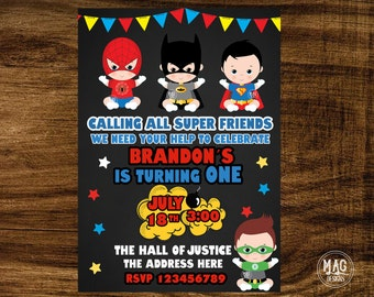 Superhero   Invitation- Superhero Birthday Party Invitations - Super Hero Baby  Invitation - Digital Invitations.