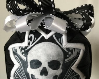 """Skull Quilted Ornament 3"""" Snow Globe Style Black, White, Handmade, No Sew"""