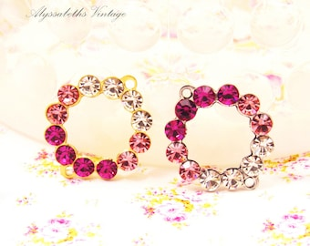 Round Rose Ombre Swarovski Rhinestone Earring Dangles Circle Connector 19x16mm Connector Link Antique Silver or Raw Brass - 2
