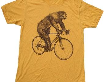 Sloth on a Bike - Mens T Shirt, Unisex Tee, Cotton Tee, Handmade graphic tee, Bicycle shirt, Bike Tee, sizes xs-xxl, eco friendly, sloth tee
