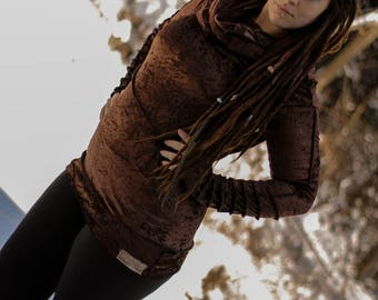 pixie fairy gypsy velvet cowl neck extra long sweater with extra long sleeves and outseams