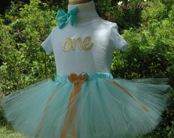 Aqua and Gold 1st birthday girl outfit, one year old girl birthday outfit,birthday tutu outfit,first birthday,2nd,,1st birthday girl outfit