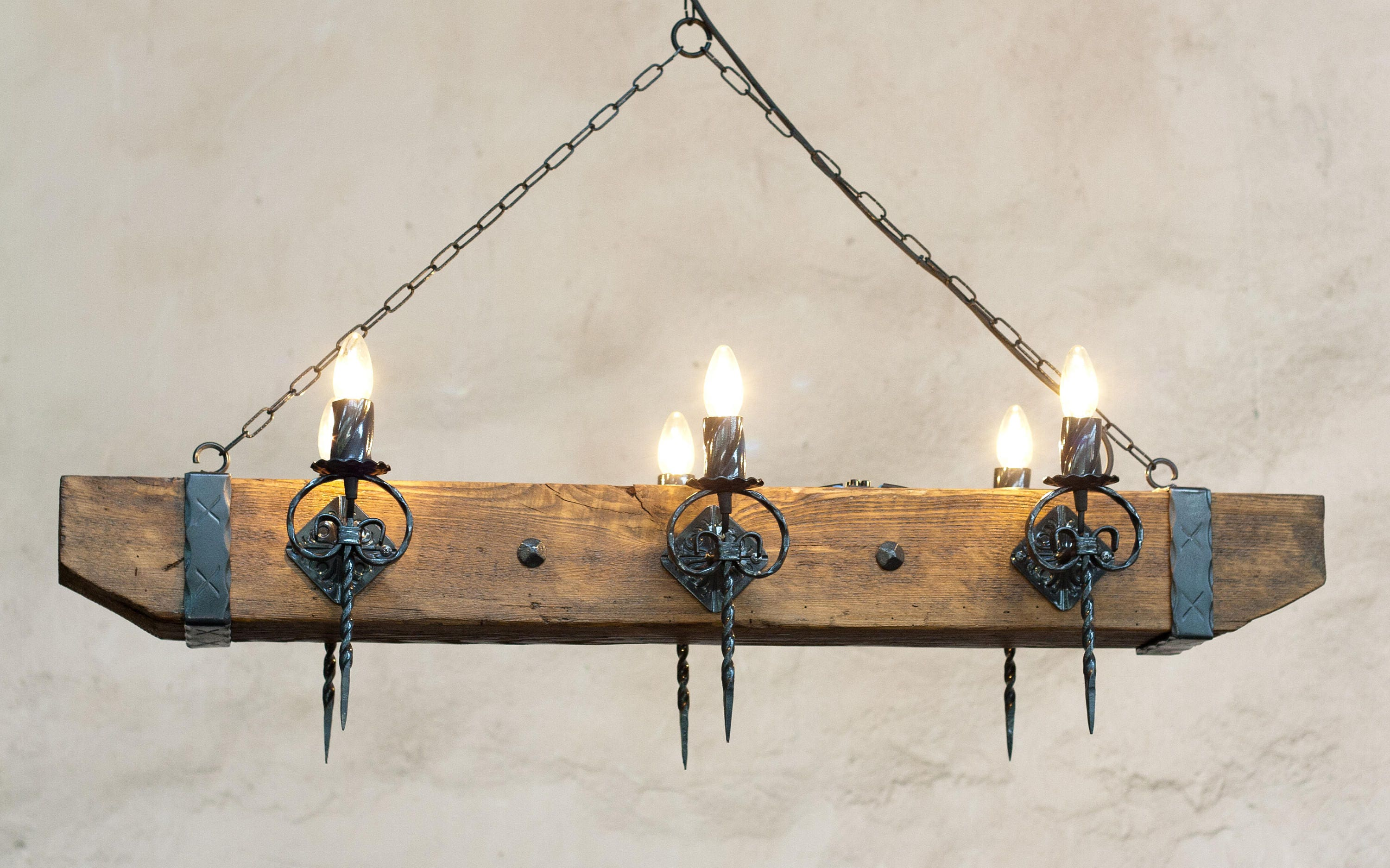 Wood beam and wrought iron chandelier for 6 lights