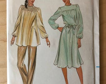 Butterick 3572 - 1980s Fast and Easy Yoked Dress or Tunic with Long Gathered Sleeves and Self Belt - Size 12 Bust 34