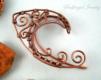"Elven ""High Elf I"" copper wire wrapped elf ear cuffs (pair)"