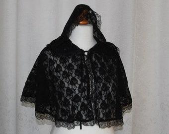 Final sale Black lace cape
