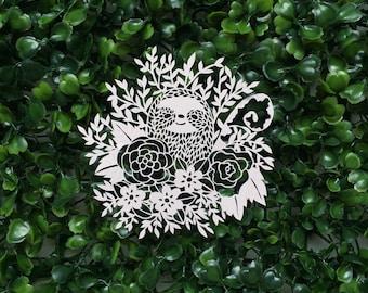 Original Papercut Sloth - Floral Sloth Original Scherenschnitte - Kirigami Sloth