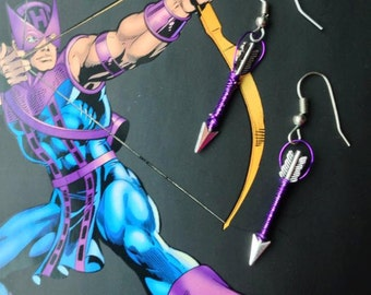 Classic Hawkeye Earrings Marvel Comic Inspired Jewelry Clint Barton KateBishop Purple Wire Wrap Silver Arrow Charm Comic Book Nerd Geek Gift