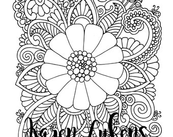 Fabulous Bloom, 1 Adult Coloring Book Page, Printable Instant Download