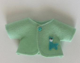 Cute little llama coat for five inches Waldorf doll, made of wool felt.