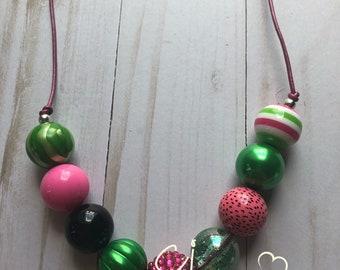 Adjustable bubblegum necklace
