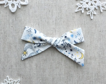 Large Schoolgirl Bow - Winter Woods - hair clip