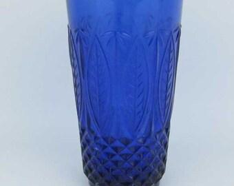 Avon Royal Sapphire Cobalt Blue Tumbler Drinking Glass (1) France 14 oz