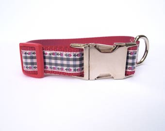 Pink Large Dog Collar with Metal Hardware, cute pink dog collar, large dog collar, dog collar for girl, girl dog collar, female dog collar