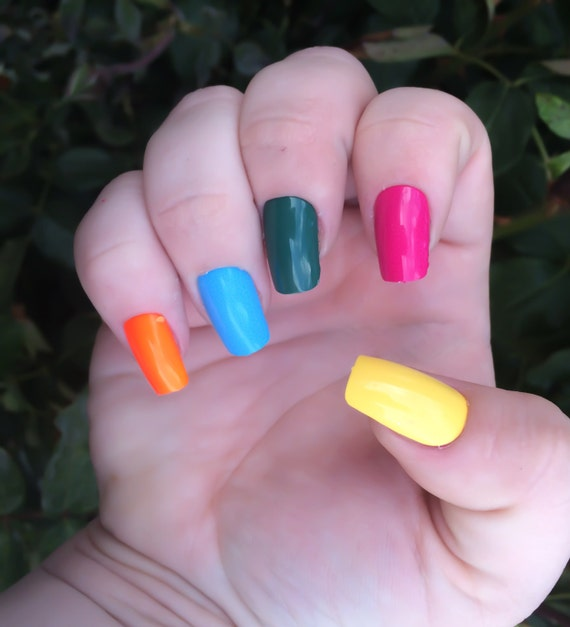 Uñas acrilicas de uñas postizas verde de uñas postizas rosa