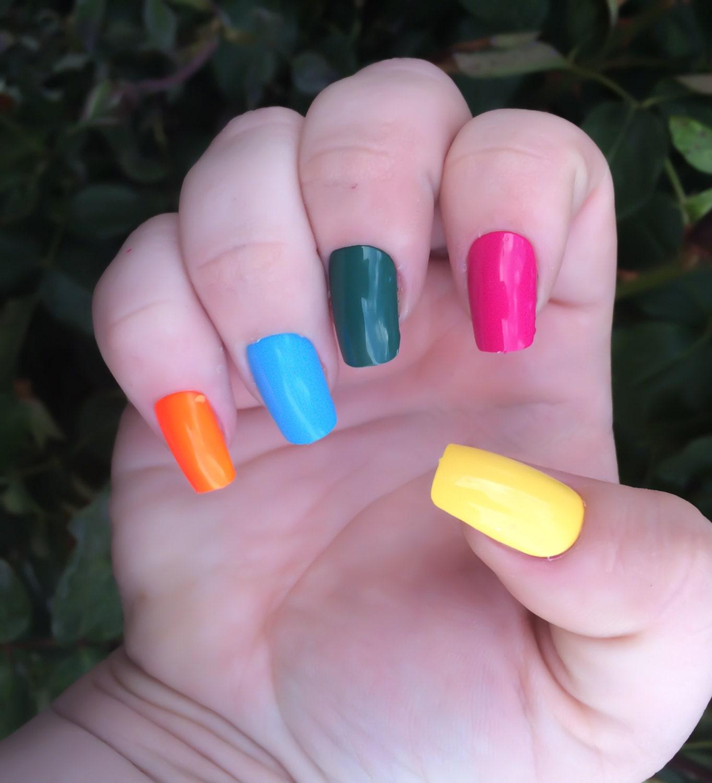 Regenbogen gefälschte Nägel Rosa falsche Nägel grün Acryl