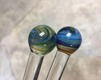 Lowball glass drink stir stick set by Ocean Beach Glass