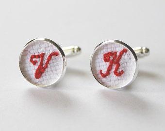 Embroidered cuff links, Cotton anniversary gift, Cuff links wedding, Groomsmen cufflinks, Initial cufflink, Groom Gift for Him, Red cufflink
