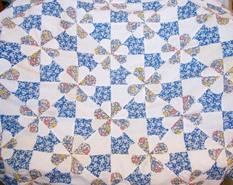 antique quilt top cotton floral 30s 40s